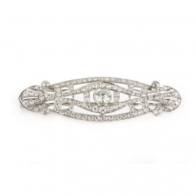 Art Deco Diamond Brooch In Platinum c.1920